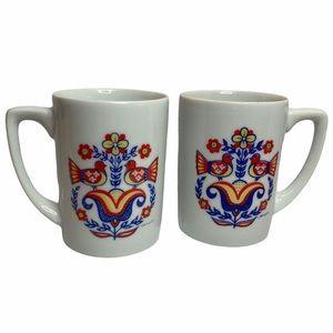 VTG Berggren Scandinavian Folk Art Mugs (2) Floral